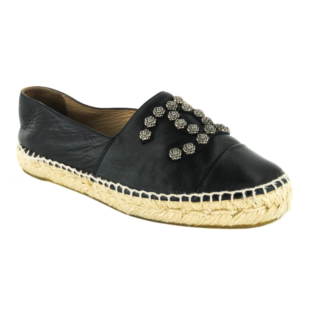 Chanel Black Lambskin Leather Camellia CC Studded Espadrille Flats - Sandals
