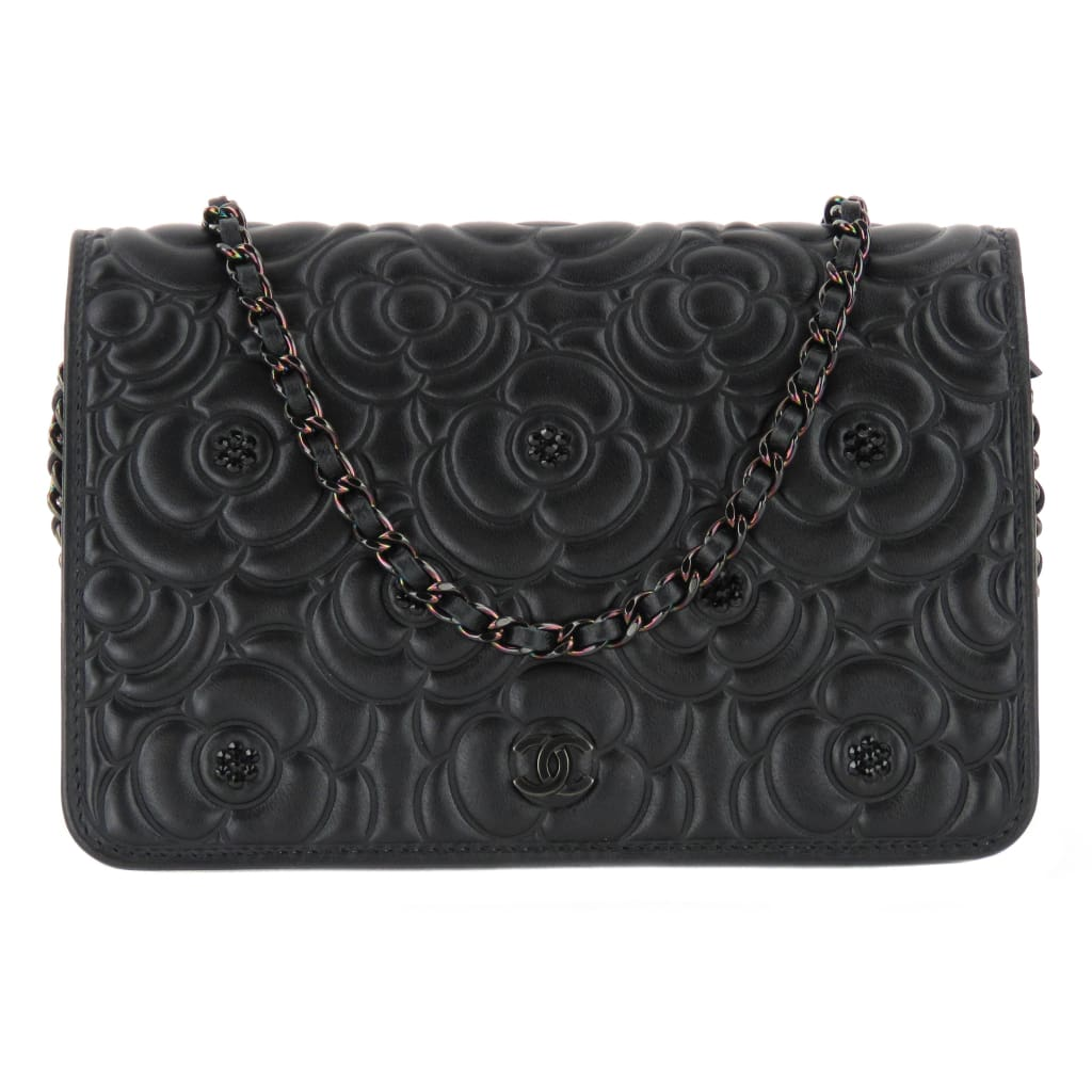 Chanel Black Leather Cambon Wallet On A Chain Crossbody Bag - Crossbodies