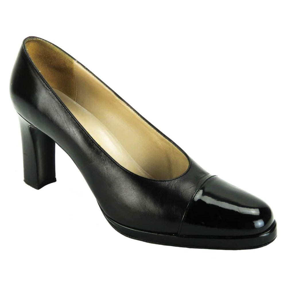 822034decd0 Chanel Black Leather Cap Toe Thick Heel Pumps