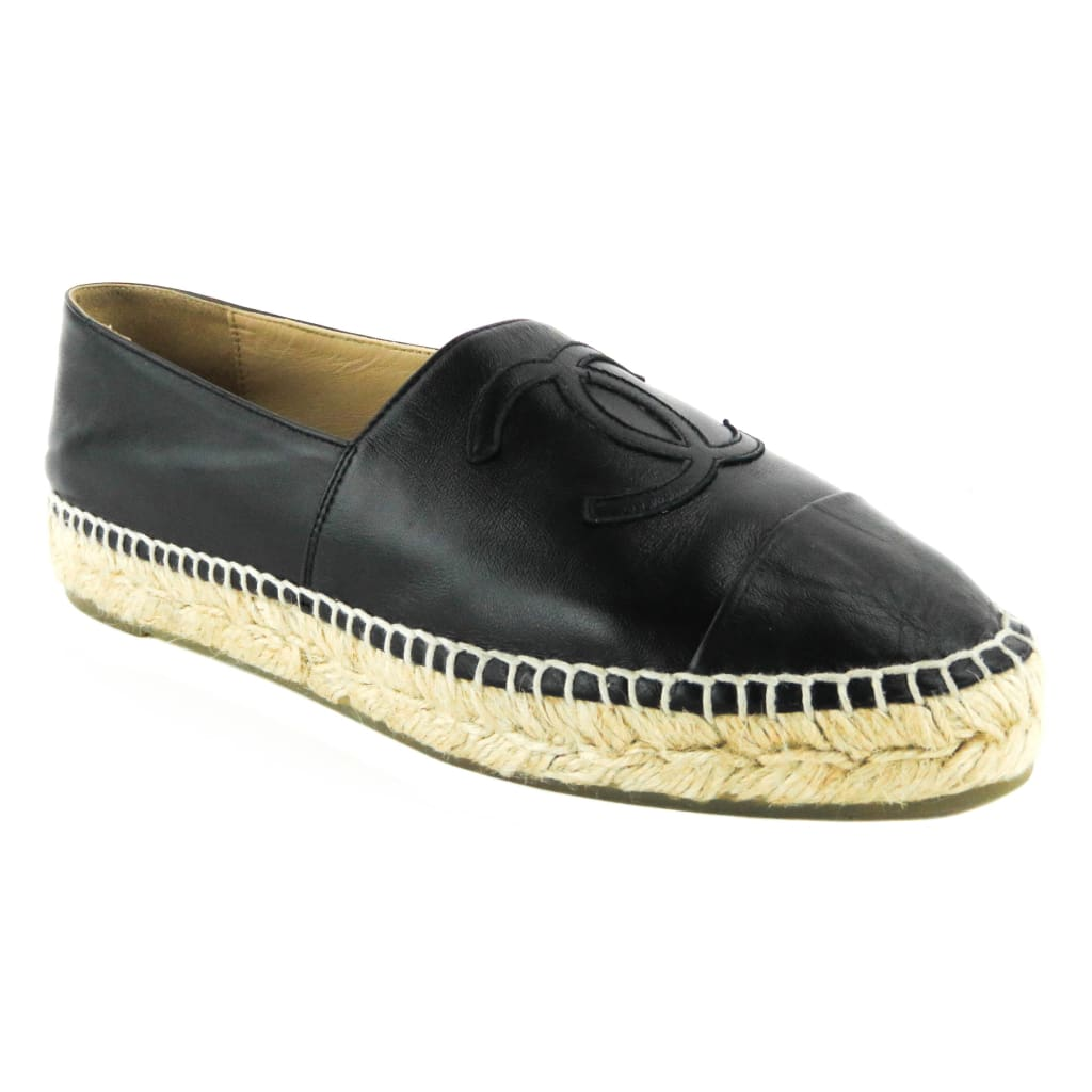 Chanel Black Leather CC Logo Espadrille Flats - Espadrilles