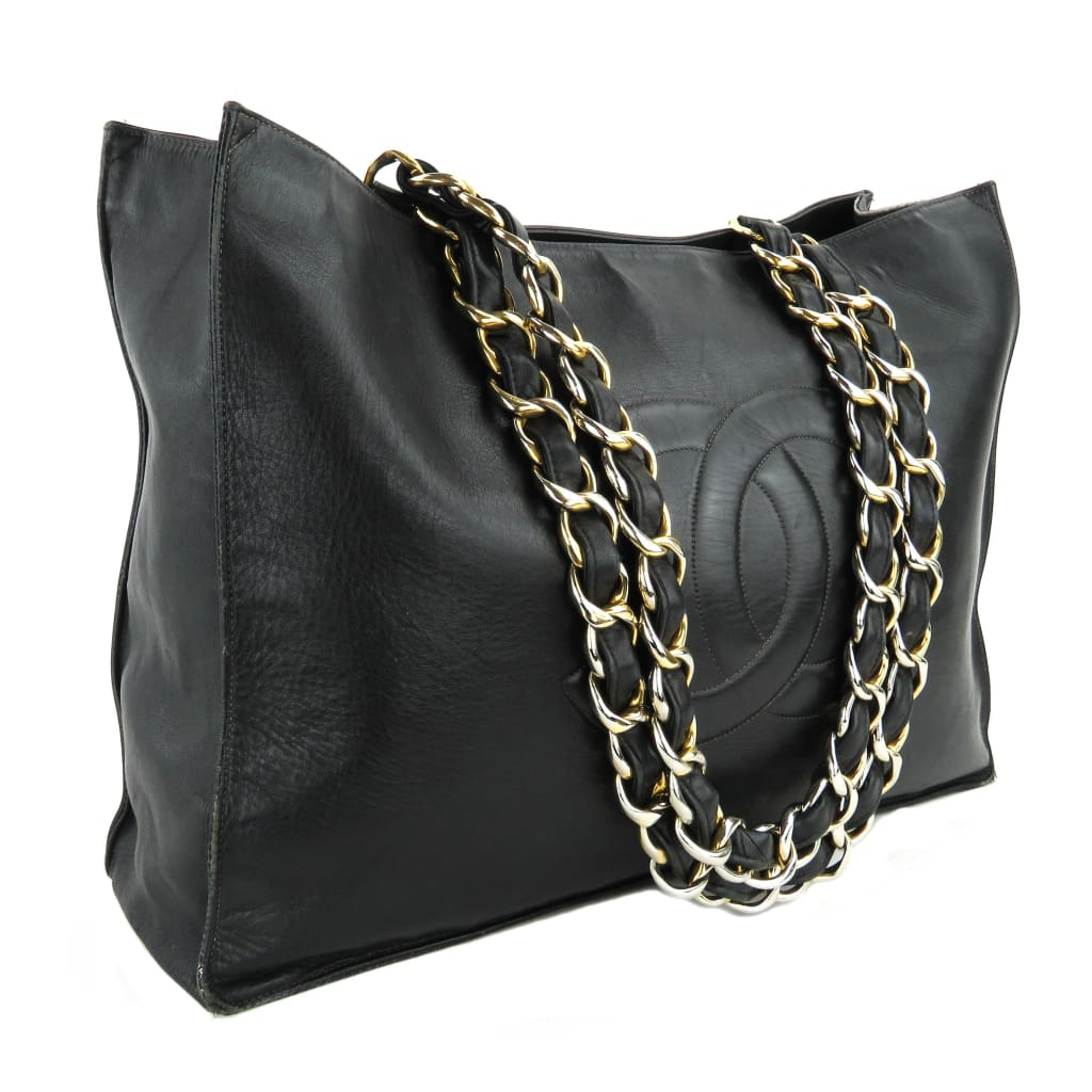 472860d23cd4 Chanel Black Leather Chunky Chain CC Jumbo XL Shopping Tote Bag - Totes