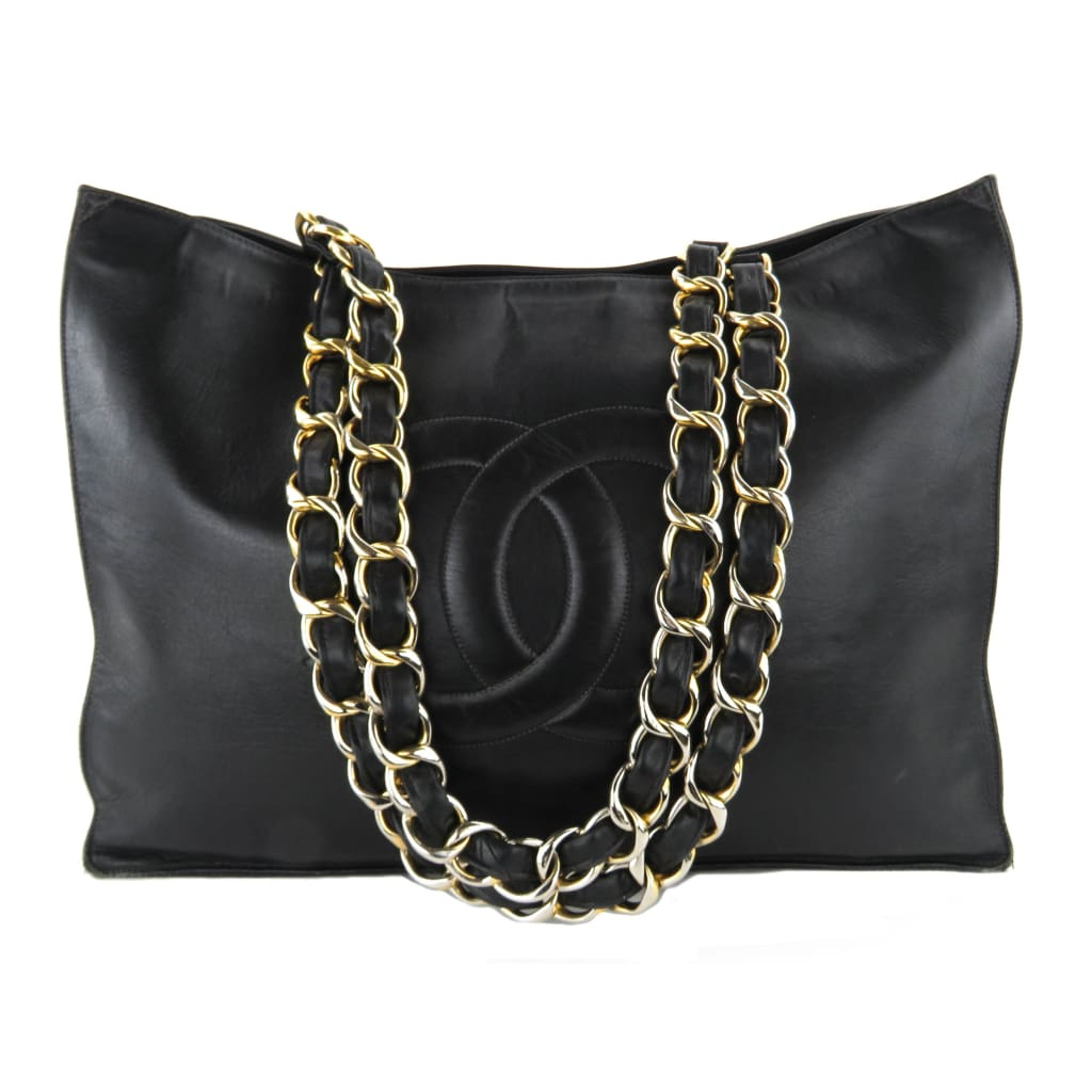 Chanel Black Leather Chunky Chain CC Jumbo XL Shopping Tote Bag - Totes