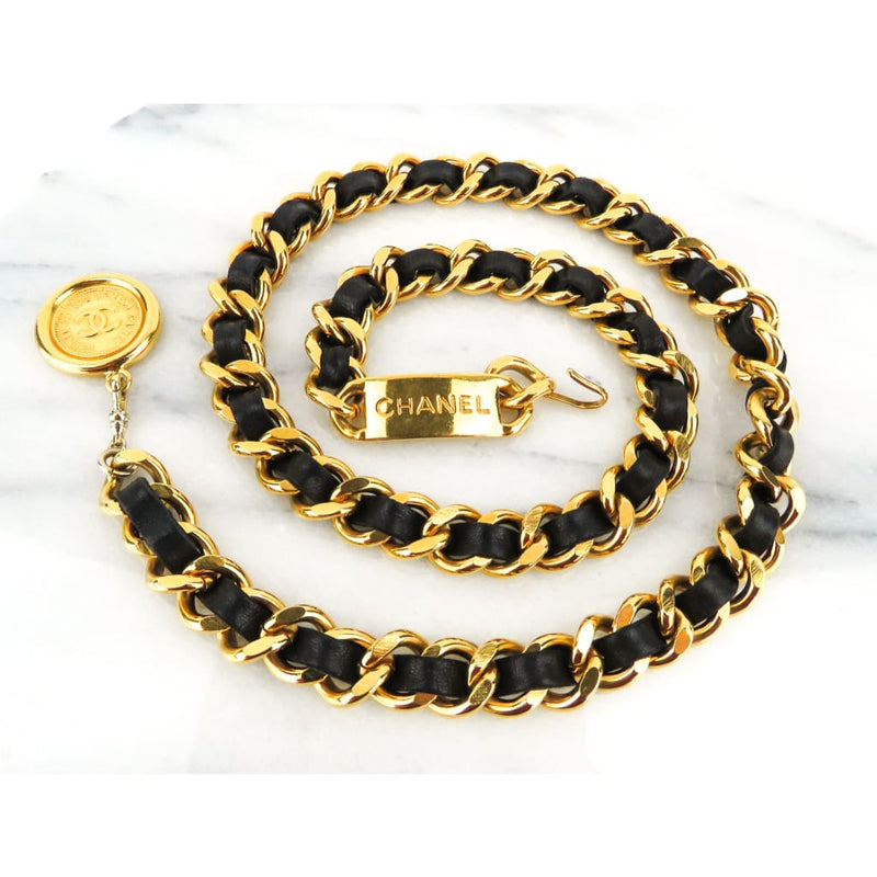 Chanel Black Leather Gold-tone CC Medallion Chain Belt - Belts