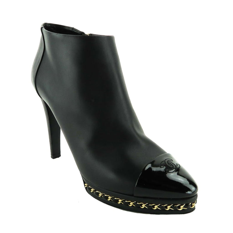 Chanel Black Leather Patent Cap Toe Chain Ankle Booties - Bootie