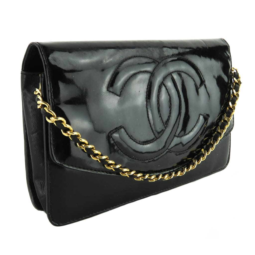 Chanel Black Patent Leather CC Wallet on a Chain Crossbody Bag - Crossbodies