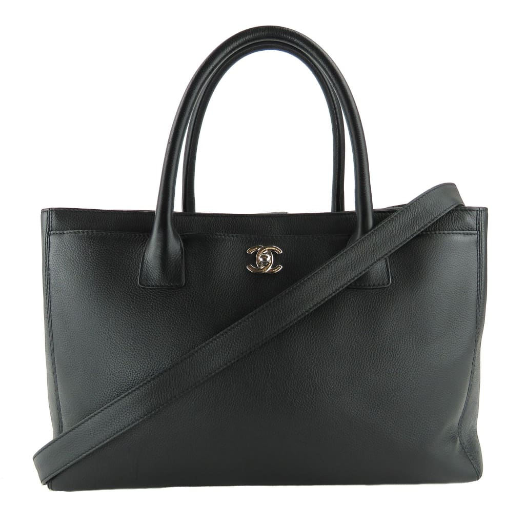Chanel Black Pebbled Leather Cerf Tote Bag - Totes