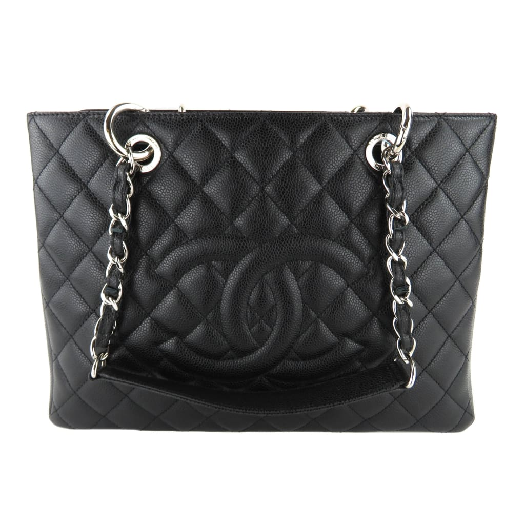 Chanel Black Quilted Caviar Leather Grand Shopping GST Tote Bag - Totes