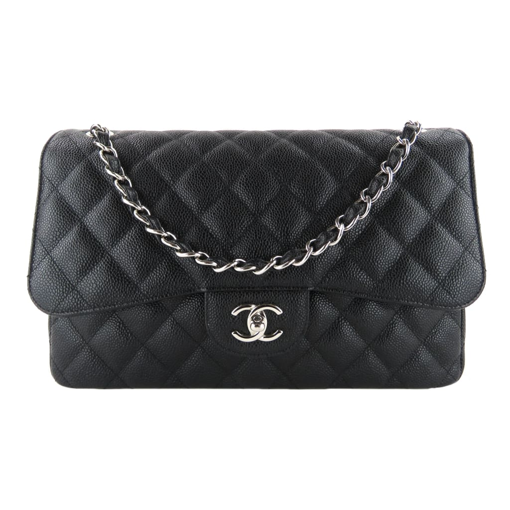 Chanel Black Quilted Caviar Leather Jumbo Double Flap Shoulder Bag - Shoulder Bags