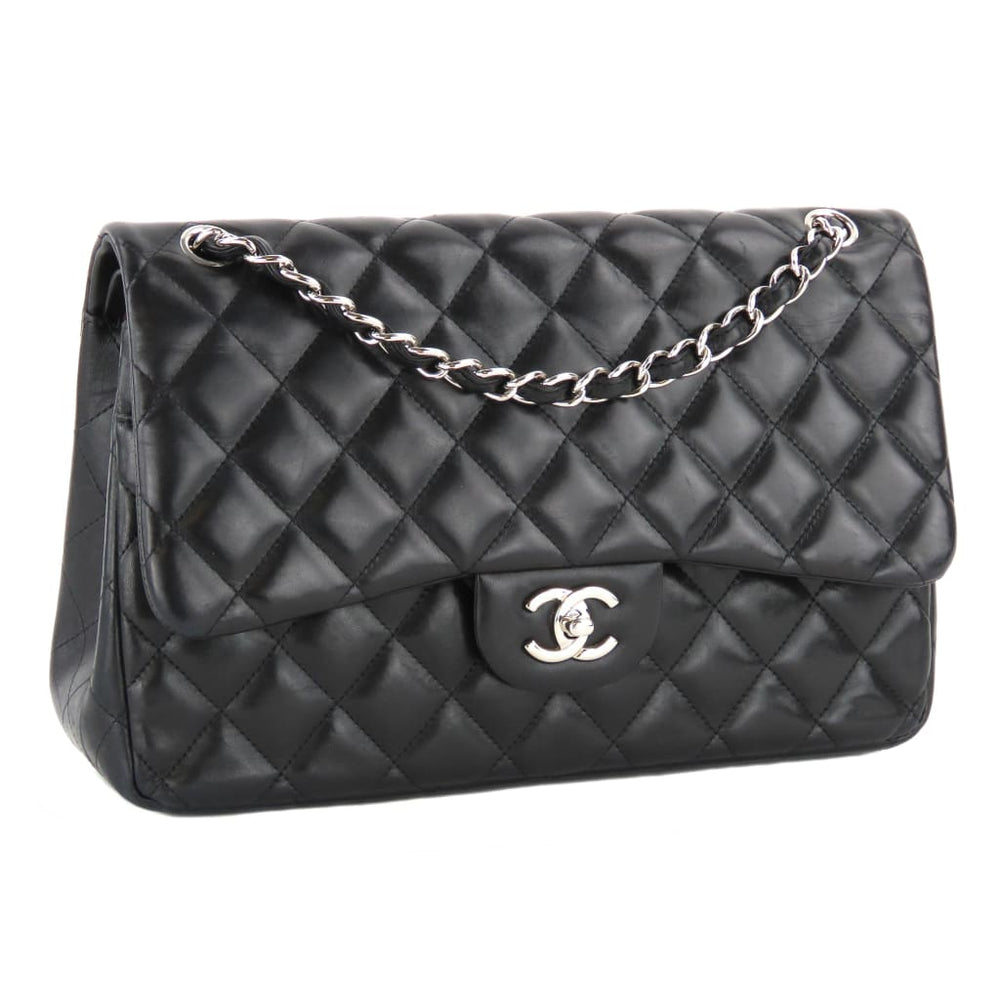 3334ea852dd6 Chanel Black Quilted Lambskin Leather Classic Jumbo Double Flap Shoulder Bag
