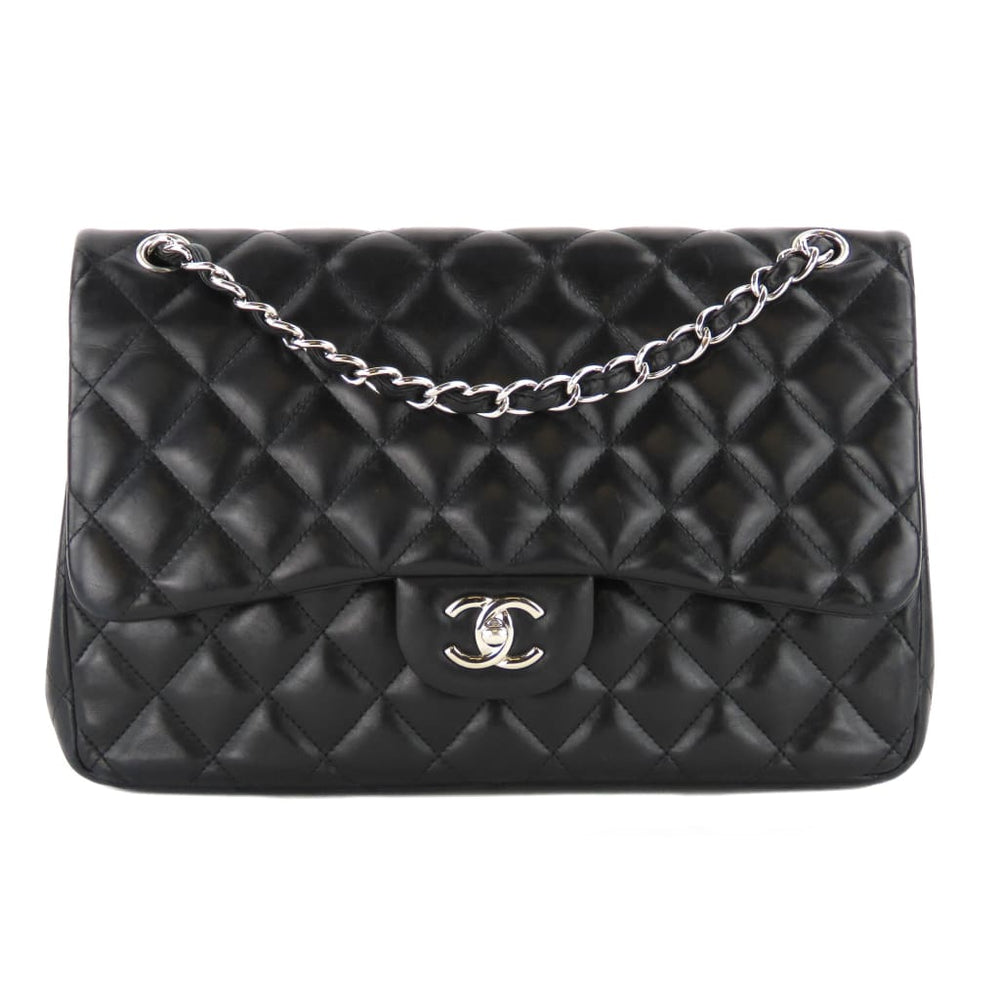 7a1ed84b77db09 Chanel Black Quilted Lambskin Leather Classic Jumbo Double Flap ...