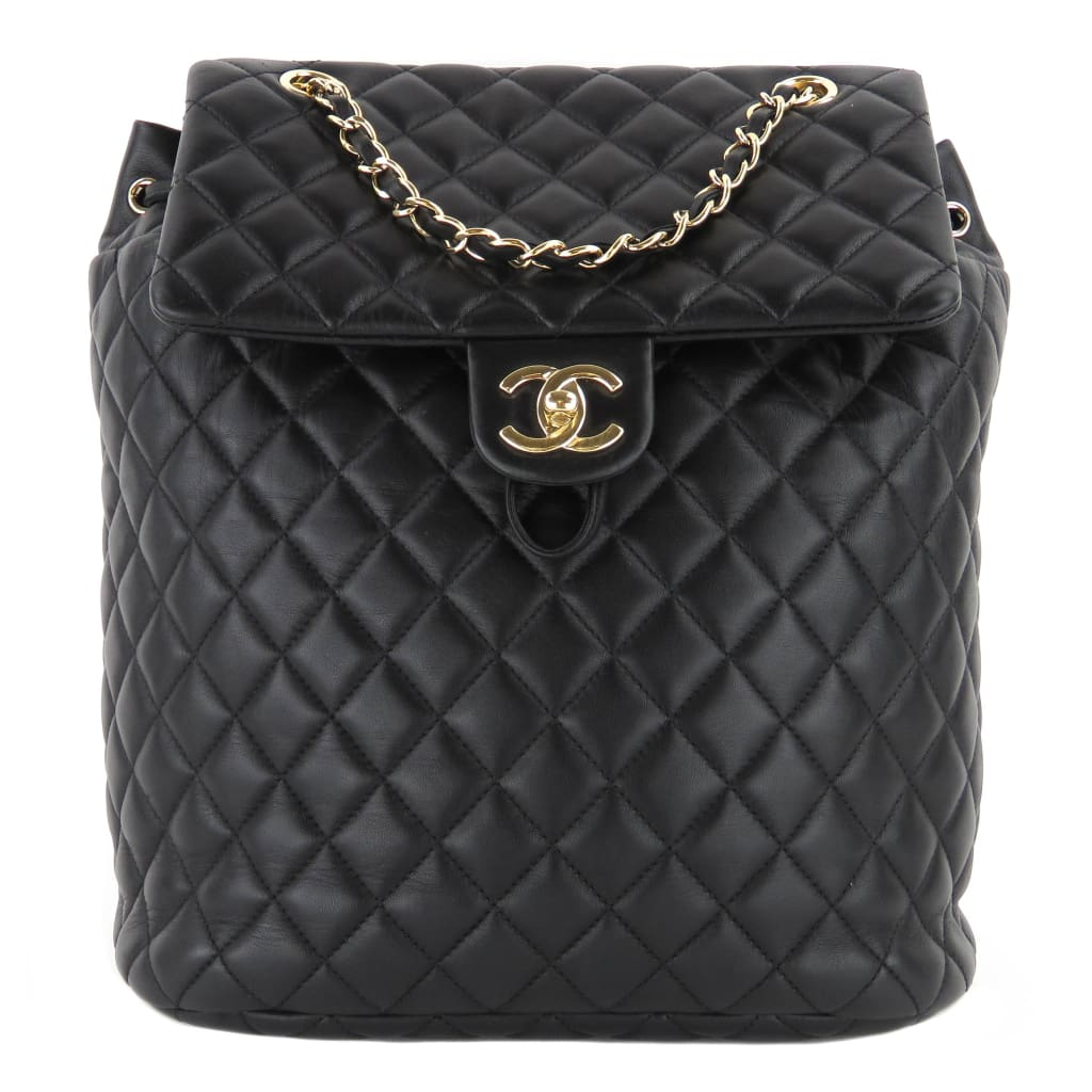 Chanel Black Quilted Lambskin Leather Urban Spirit Backpack - Backpacks