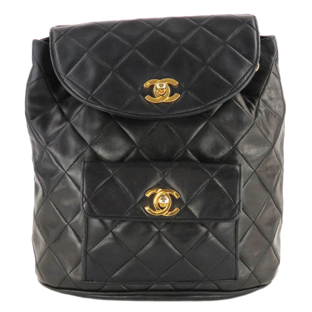 016691ca57ab Chanel Black Quilted Lambskin Leather Vintage CC Small Backpack ...
