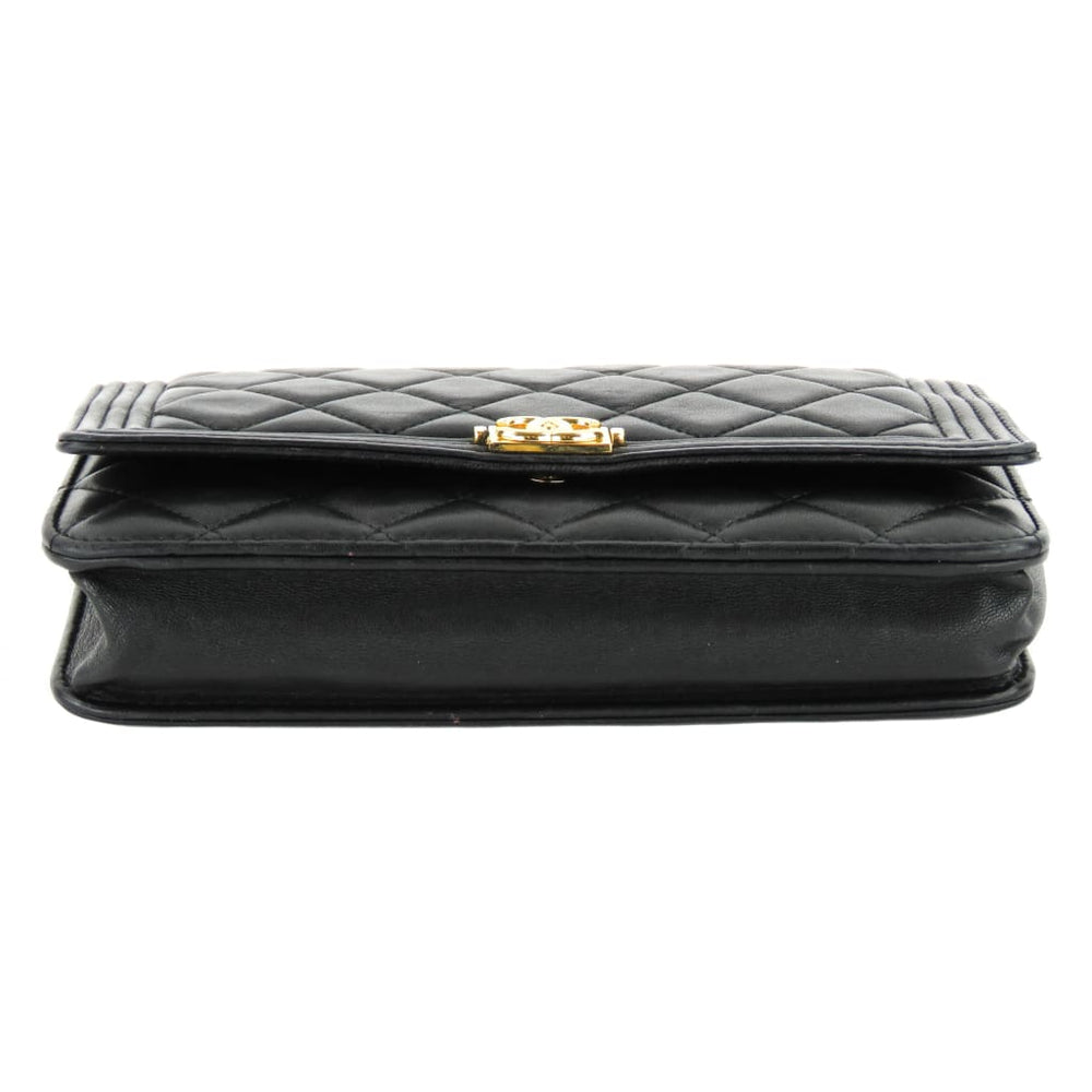 fa41d48a4030 Chanel Black Quilted Leather Boy Wallet On A Chain Crossbody Bag -  Crossbodies. 1