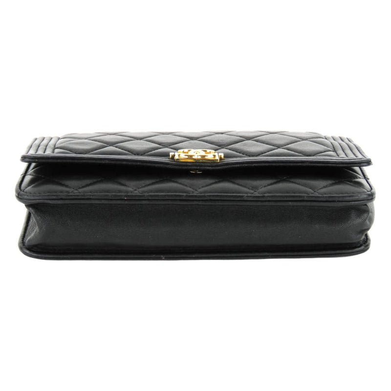 Chanel Black Quilted Leather Boy Wallet On A Chain Crossbody Bag - Crossbodies