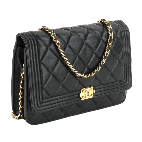 b3cfb78745fd Chanel Black Quilted Leather Boy Wallet On A Chain Crossbody Bag – Mosh  Posh Designer Consignment Boutique
