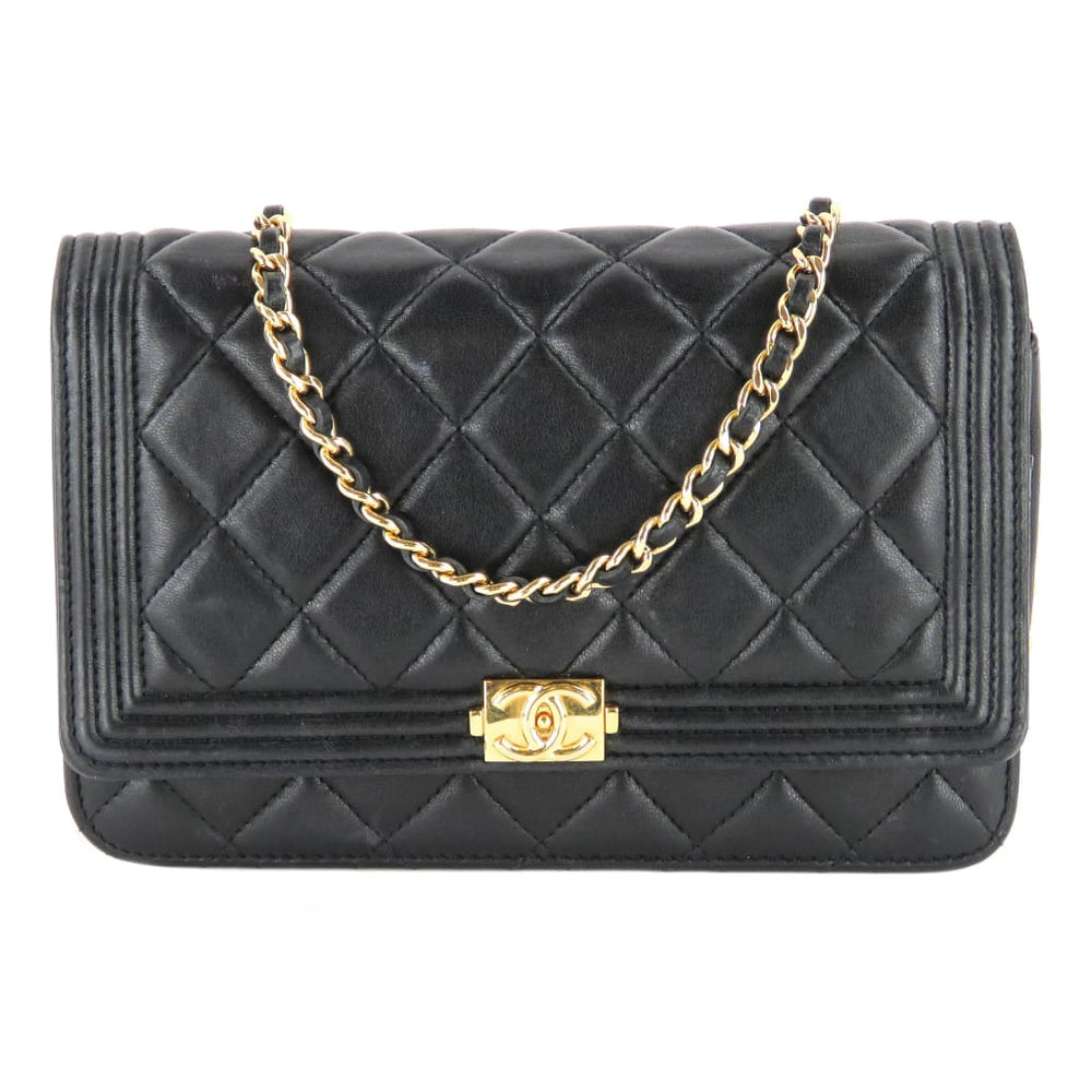 27537012c2a5 Chanel Black Quilted Leather Boy Wallet On A Chain Crossbody Bag ...