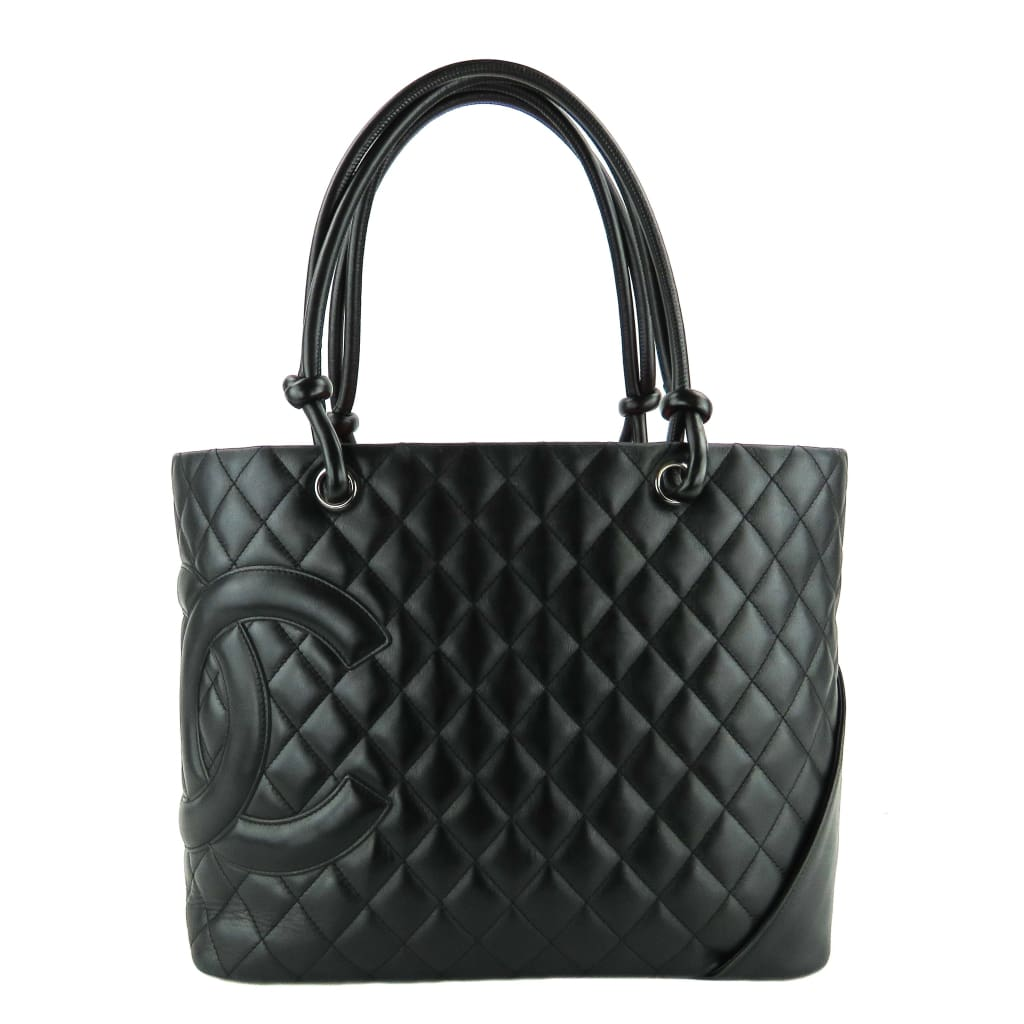 Chanel Black Quilted Leather Ligne Cambon CC Large Shopper Tote Bag - Totes