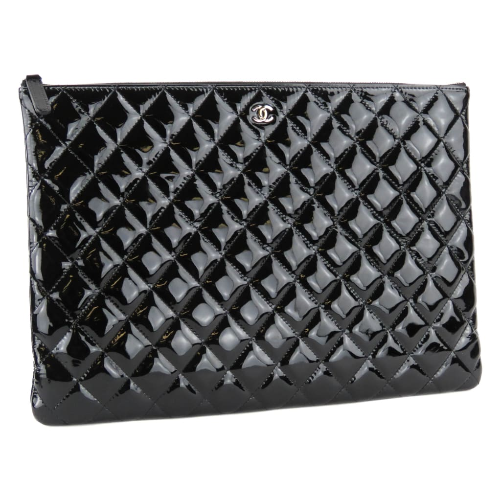 Chanel Black Quilted Patent Leather O Case Clutch Bag - Clutches
