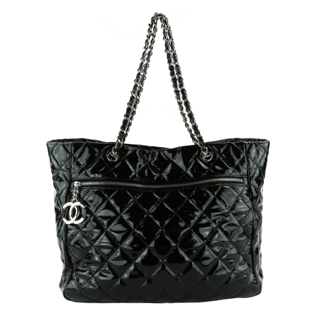 Chanel Black Quilted Patent Leather Tote Bag - Totes