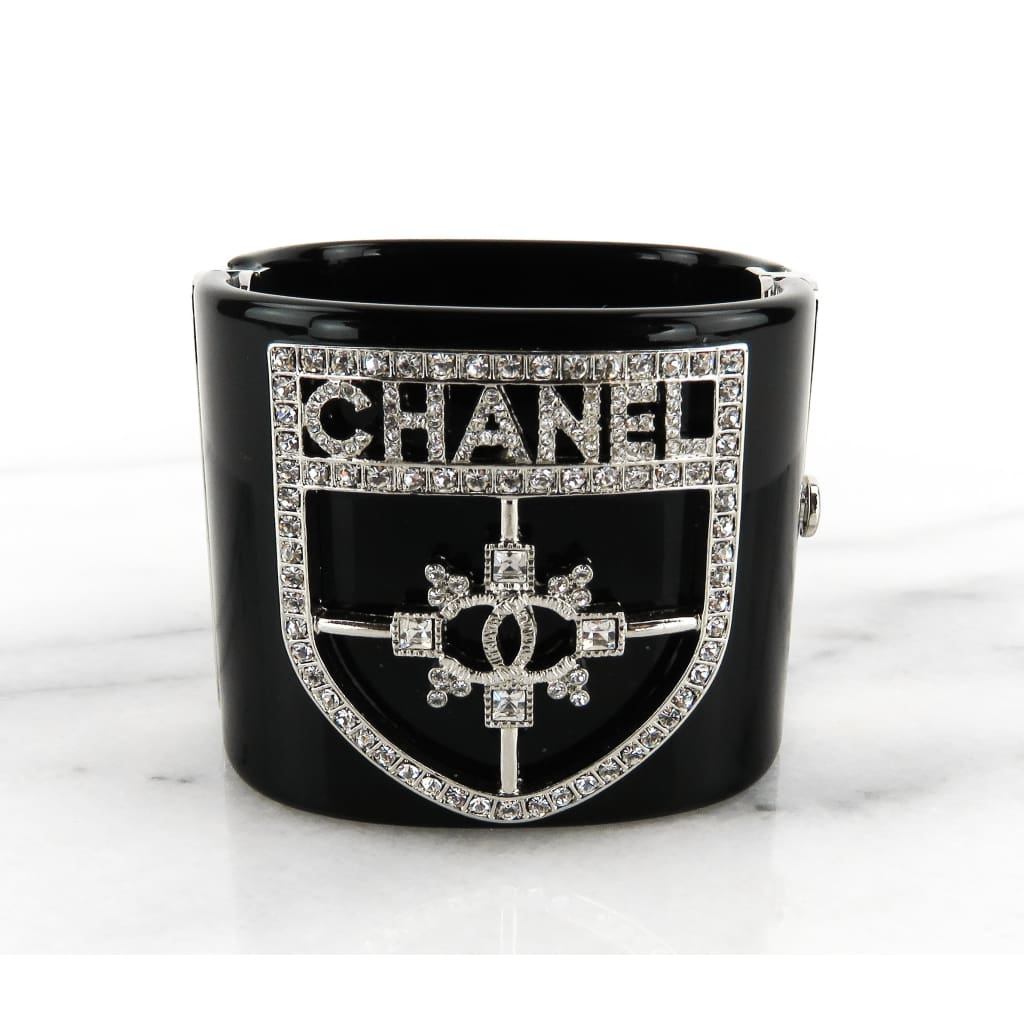 Chanel Black Resin Crystal Crest Wide Cuff Bracelet - Bracelet