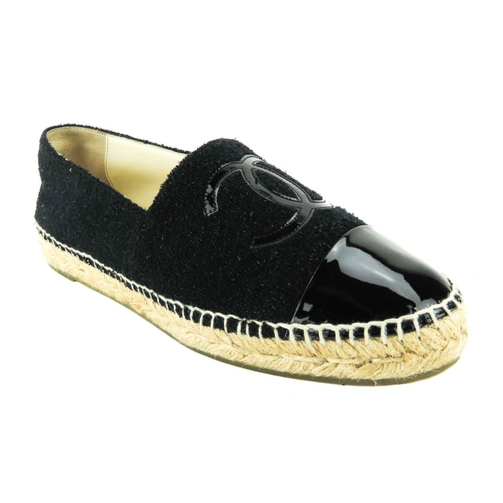 Chanel Black Shimmer Terry Cloth Patent Toe CC Espadrille Flats - Flats