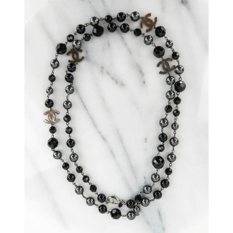 Chanel Black Silver-tone Glass Bead and Grey Faux Pearl CC Long Necklace - Necklace