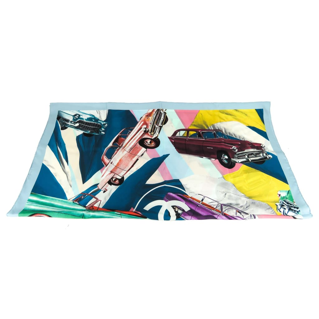 Chanel Blue Multicolor Silk Viva Coco Cuba Vintage Car Scarf - Scarves