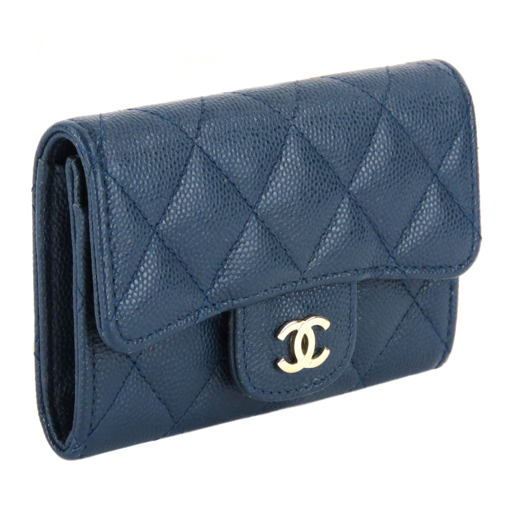 Chanel Blue Quilted Caviar Leather Mini Flap Wallet - Wallet