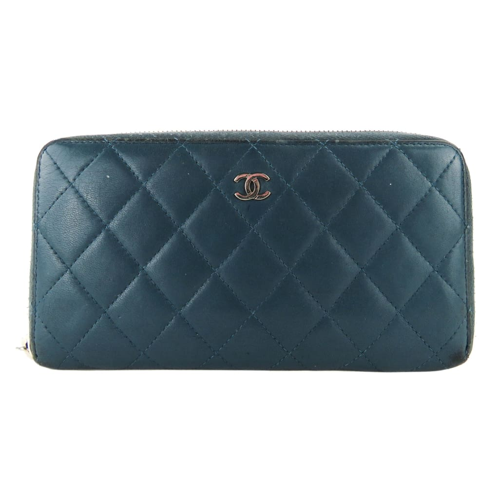Chanel Blue Quilted Leather L-Gusset Zip Wallet - Wallet
