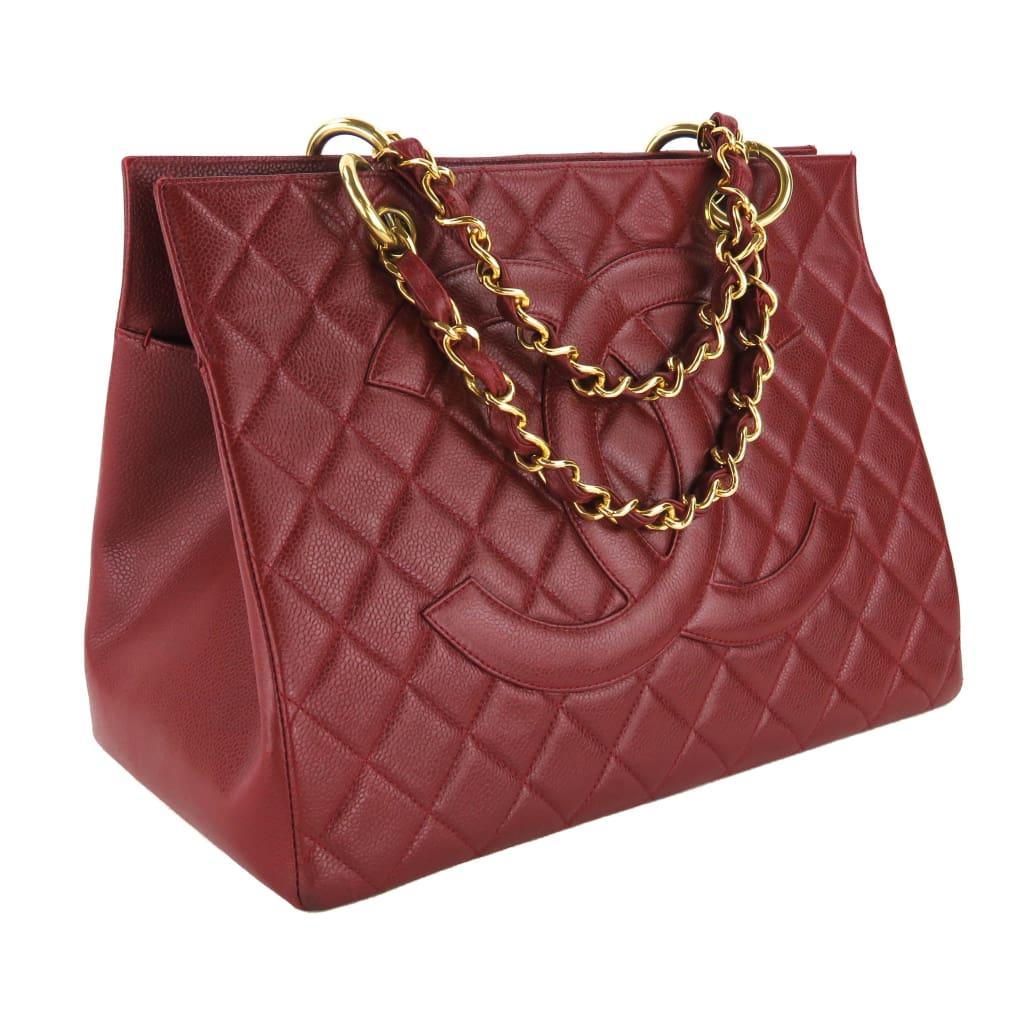 Chanel Brick Red Quilted Caviar Leather Shopping Tote Bag - Totes