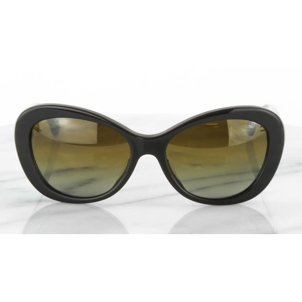 Chanel Brown and Clear CC Logo Polarized Sunglasses - Sunglasses