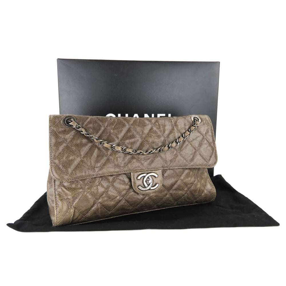 1432a678d528 Chanel Brown Quilted Crumpled Leather CC Crave Jumbo Flap Shoulder Bag -  handbags. 1
