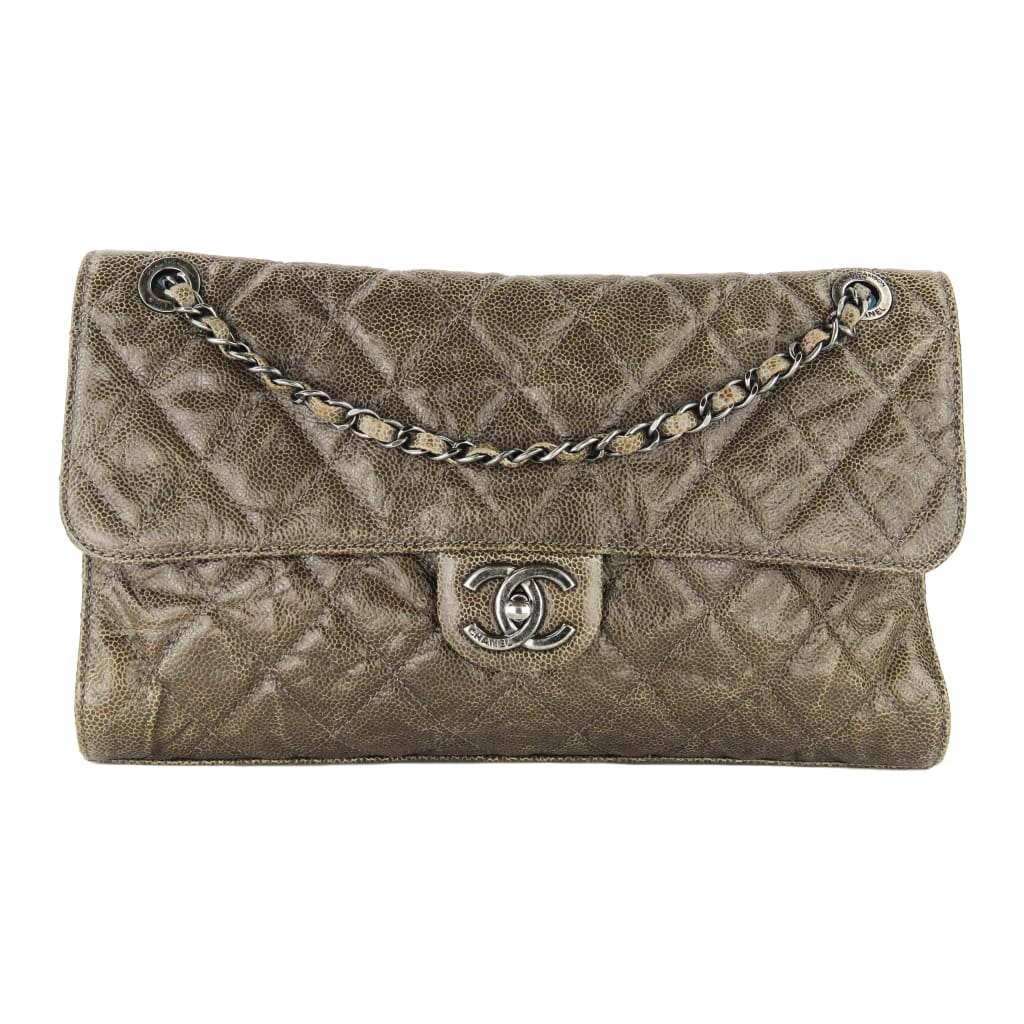 Chanel Brown Quilted Crumpled Leather CC Crave Jumbo Flap Shoulder Bag - handbags