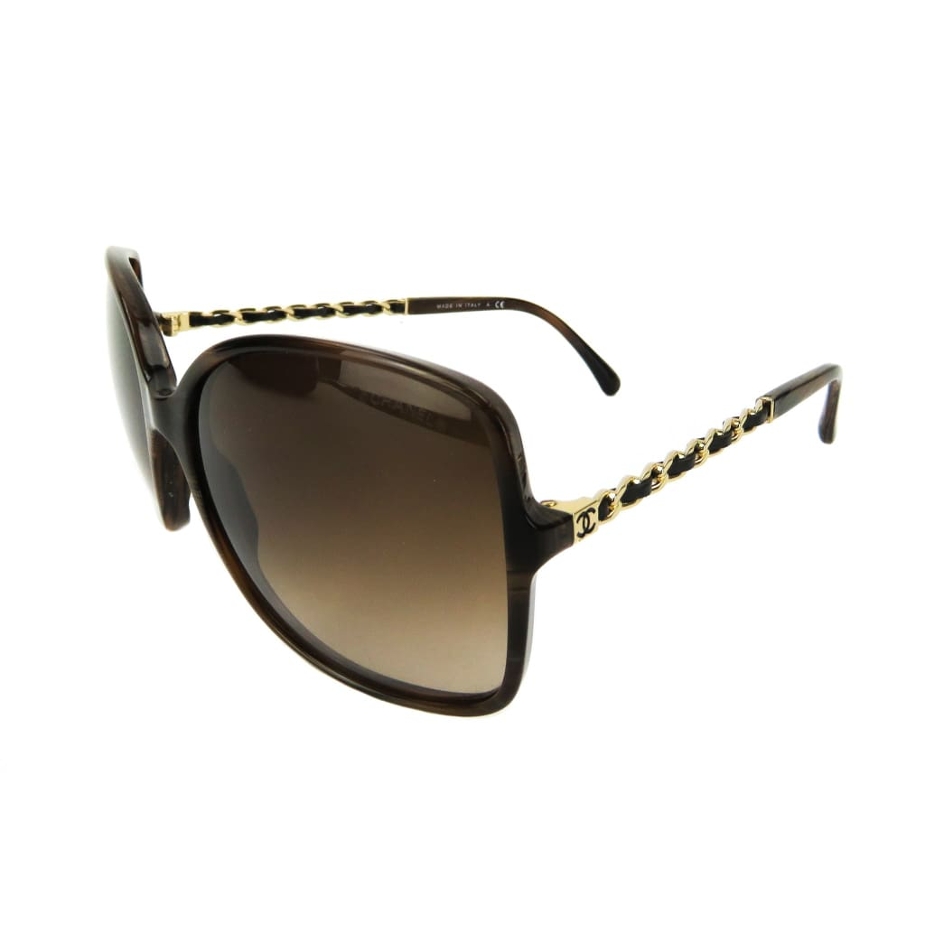 Chanel Brown Tortoise Winter Square Chain Sunglasses - Sunglasses