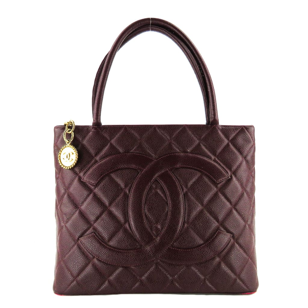 Chanel Burgundy Caviar Leather Medallion Tote Bag - Totes