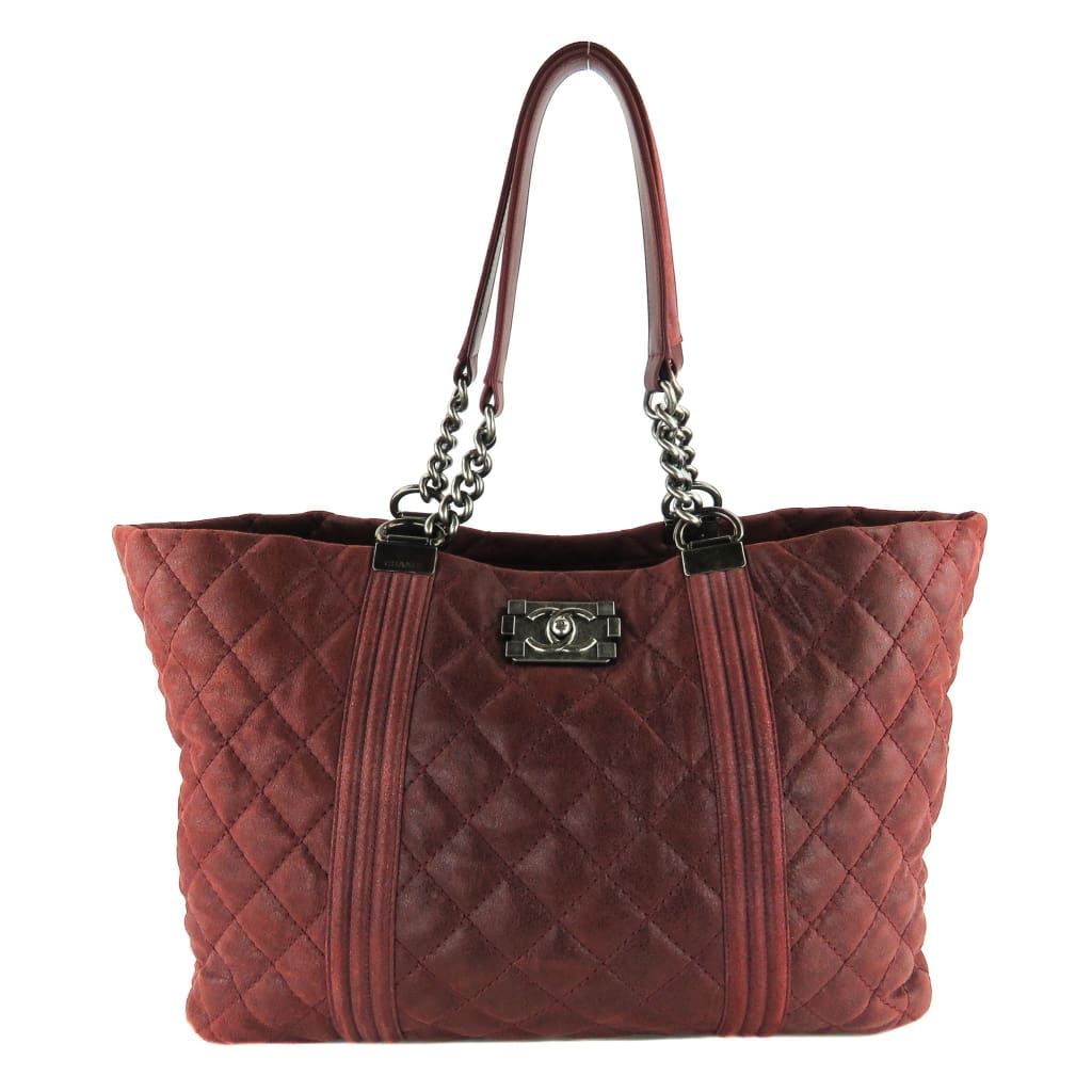 Chanel Burgundy Quilted Goatskin Leather Large Gentle Boy Shopping Tote Bag - Totes