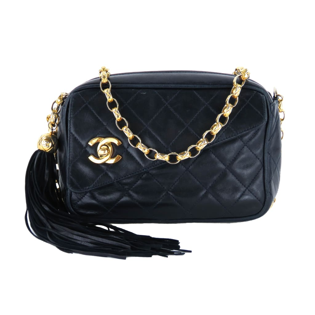 Chanel Dark Navy Blue Quilted Leather Tassel Camera Crossbody Bag - Crossbodies