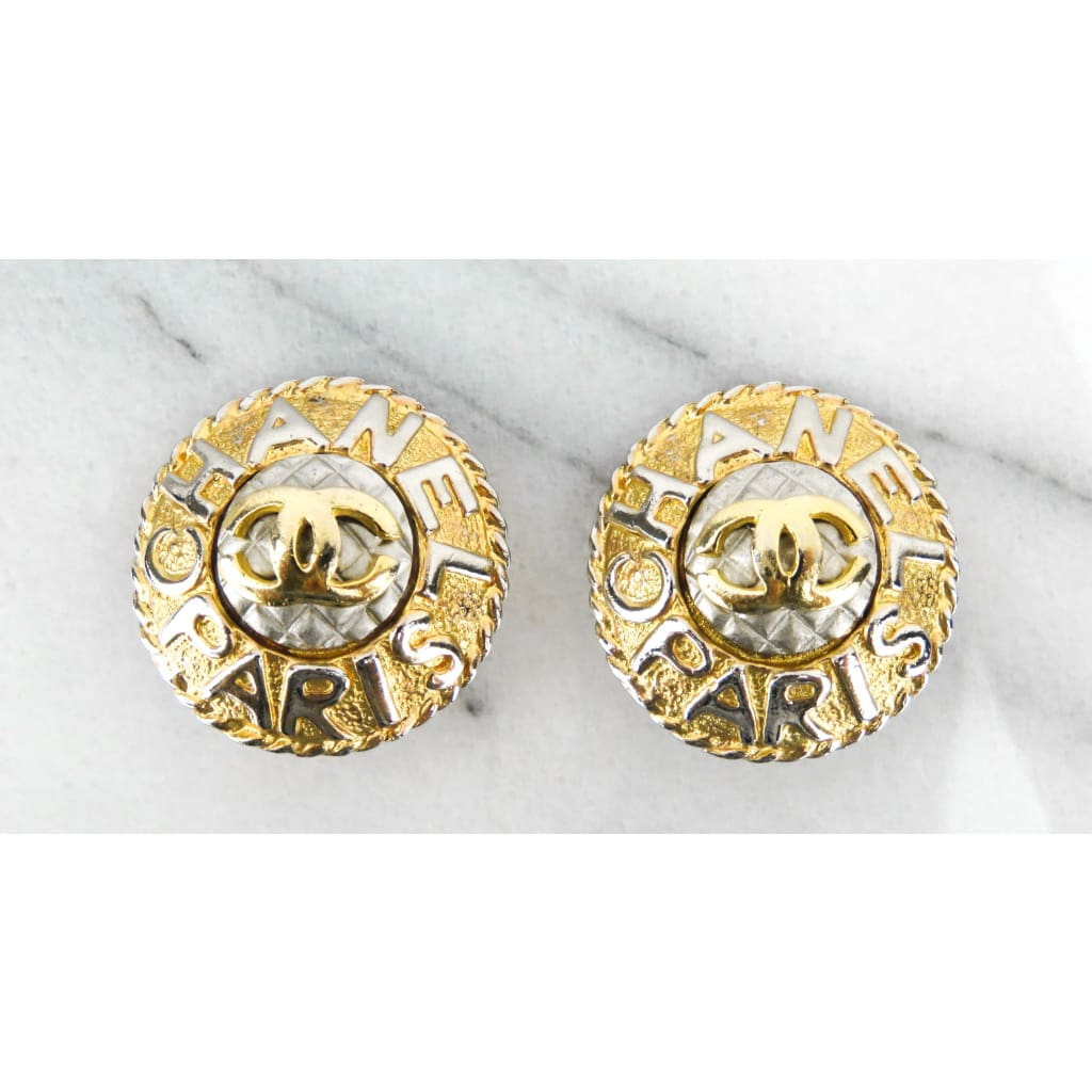 Chanel Gold-tone and Silver-tone Paris Quilted 1980s Clip On Earrings - Earrings