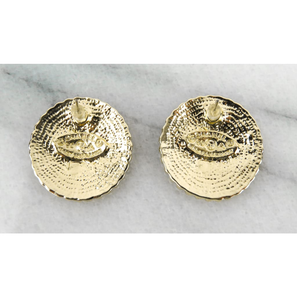 Chanel Gold-tone Black Enamel Vintage CC Stud Earrings - Earrings