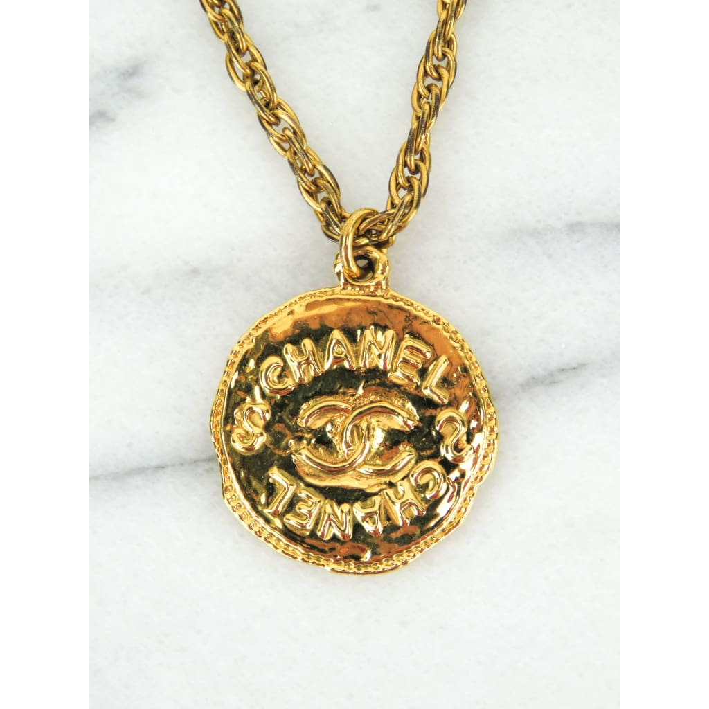 Chanel Gold-tone Coin Logo Pendant Necklace - Necklace
