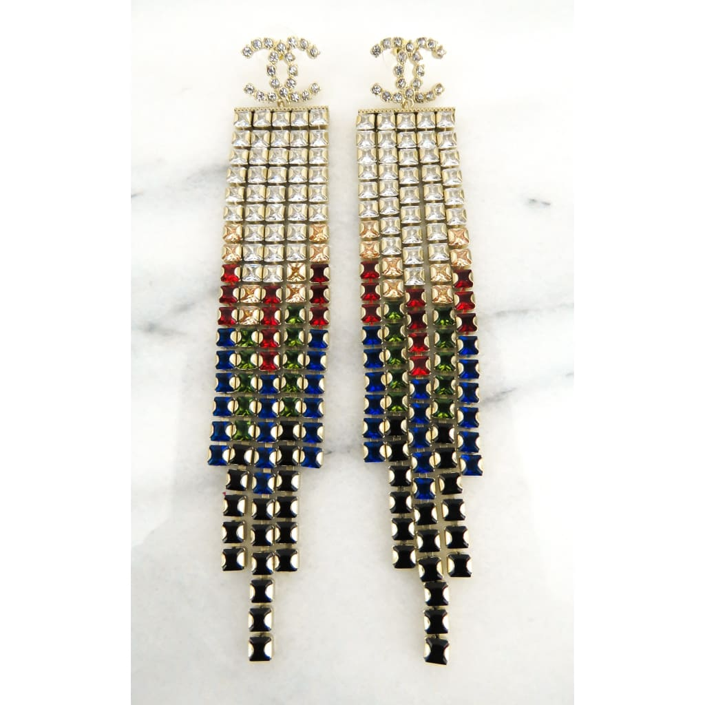 Chanel Gold-tone Multicolor Crystal Stud Drop Chandelier Earrings - Earrings