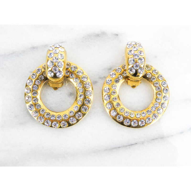 Chanel Gold-tone Vintage Diamante Door Knocker 2 Way Clip On Earrings - Earrings