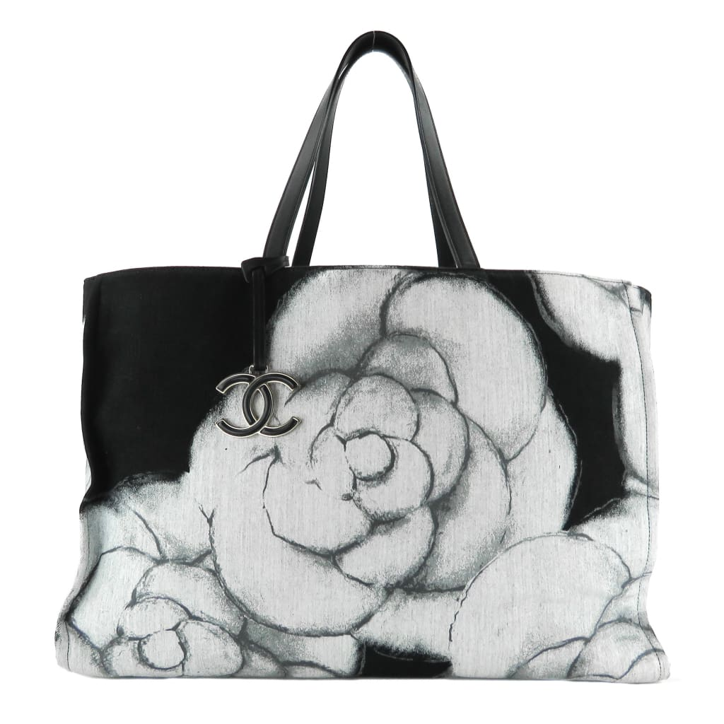 Chanel Grey and Black Canvas Large Camellia Shopping Tote Bag - Totes