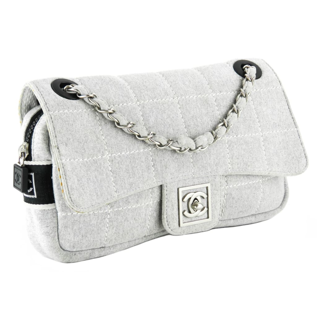 Chanel Grey Quilted Canvas Classic Flap Chocolate Bar Shoulder Bag - Shoulder Bags