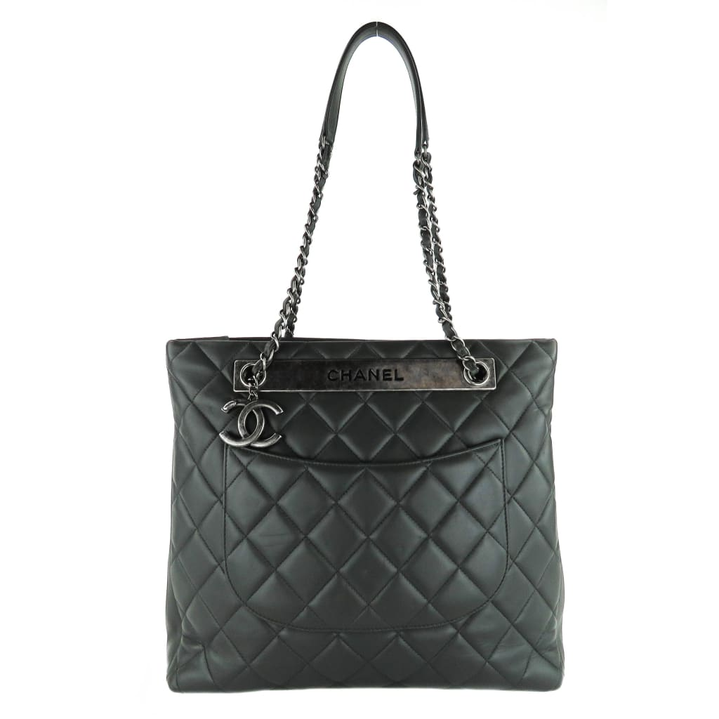 Chanel Grey Quilted Leather Trendy CC Shopping Tote Bag - Totes