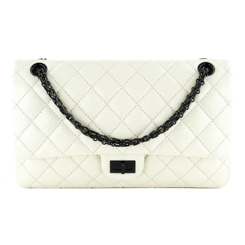 Chanel Ivory Quilted Leather Reissue 2.55 Double Flap Shoulder Bag - Shoulder Bags