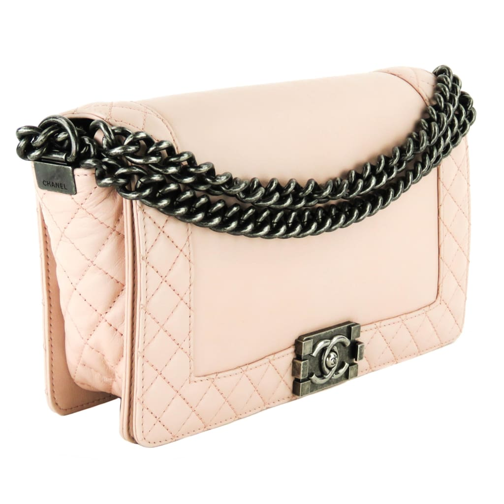 Chanel Light Pink Quilted Leather Medium Boy Reverso Flap Shoulder Bag - Shoulder Bags