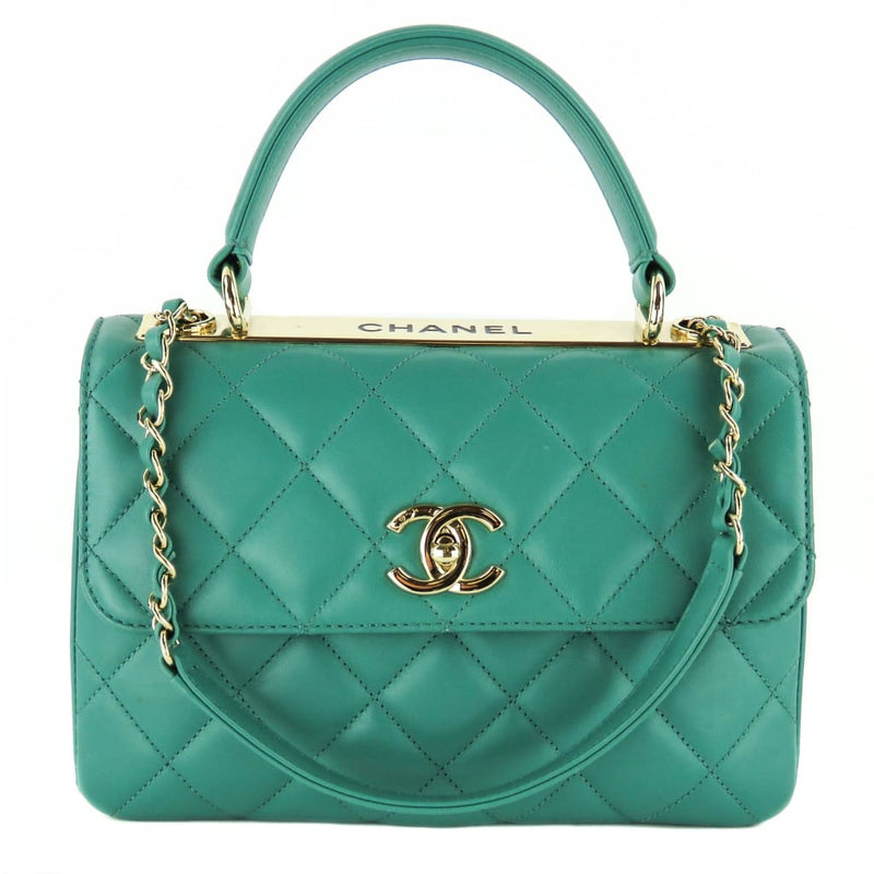 Chanel Mint Green Quilted Leather Trendy CC Top Handle Flap Satchel Bag - Satchels