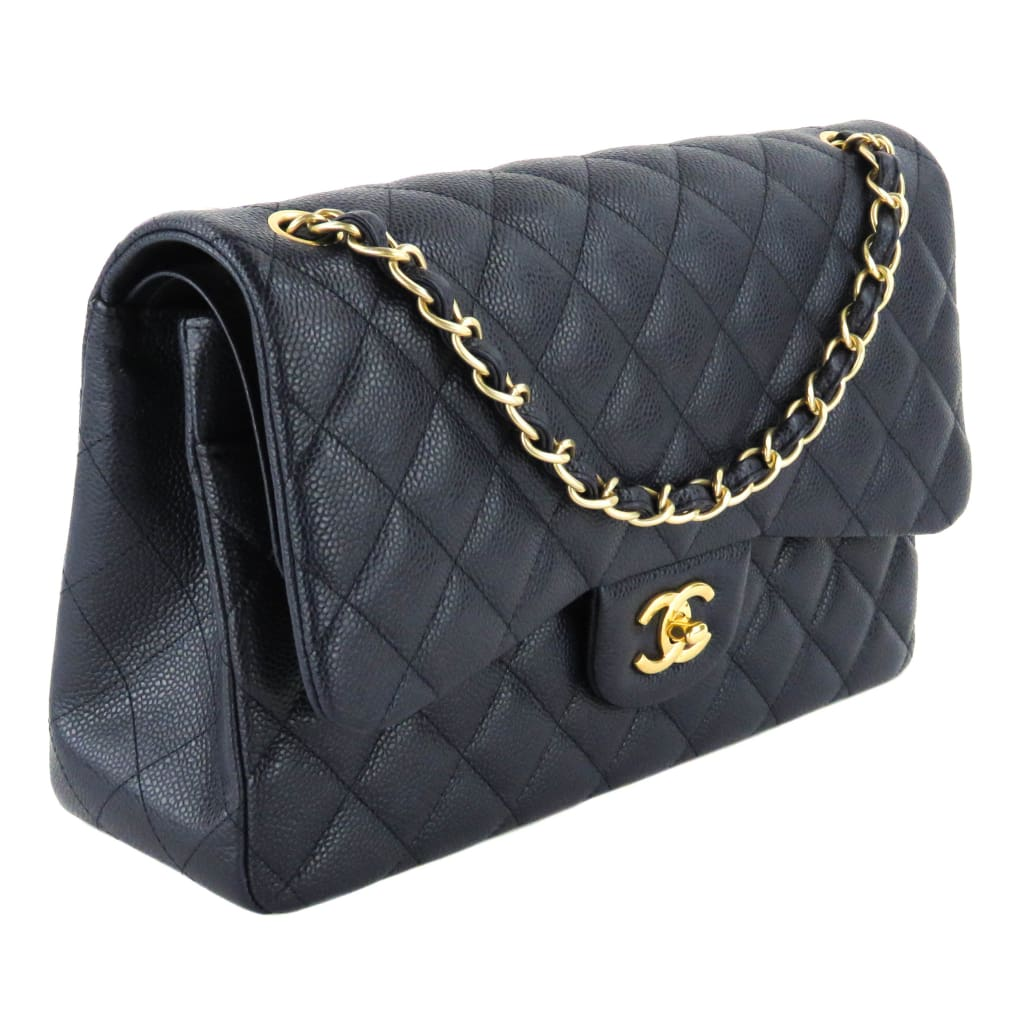 Chanel Navy Blue Quilted Caviar Leather Jumbo Double Flap Shoulder Bag - Shoulder Bags