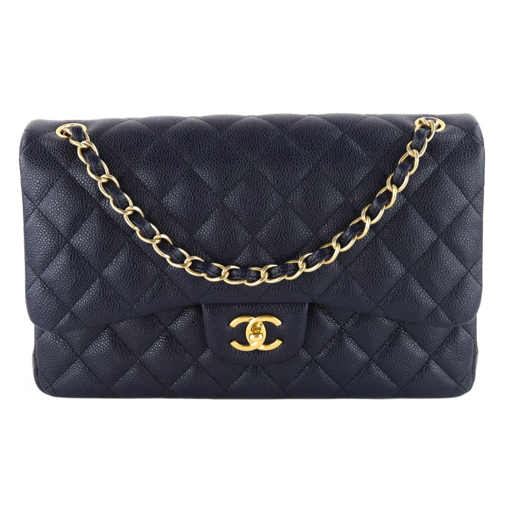 2e272b22b Chanel Navy Blue Quilted Caviar Leather Jumbo Double Flap Shoulder Bag
